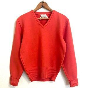 Vintage | Vibrant Red Orange Wool School Sweater